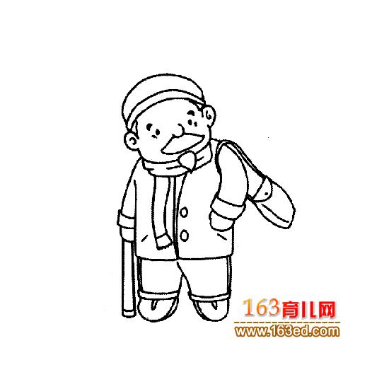 背包的老年人简笔画