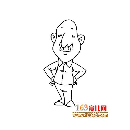叉腰的老年人简笔画