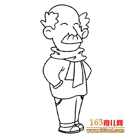 戴围巾的老年人简笔画