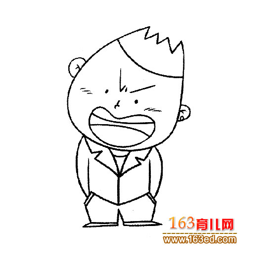 生气的小男孩简笔画1