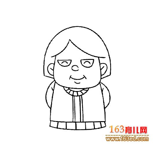 慈祥的老年人简笔画3