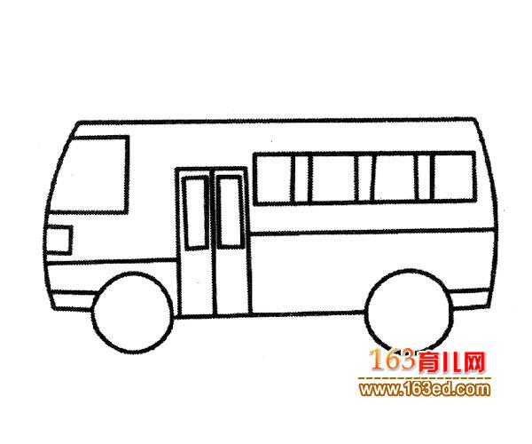 交通工具简笔画:现代公交车4