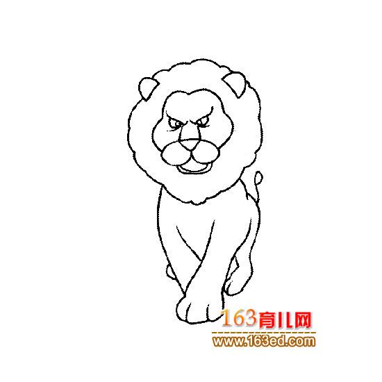 凶猛的狮子简笔画1
