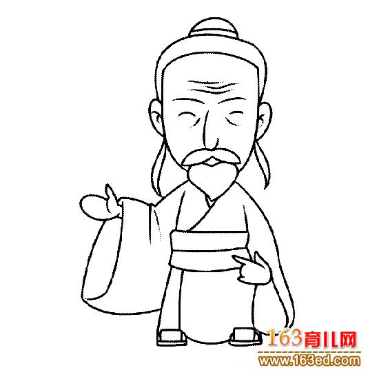 古代老年人简笔画7