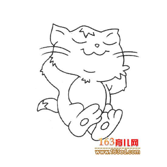 睡觉的小猫简笔画3
