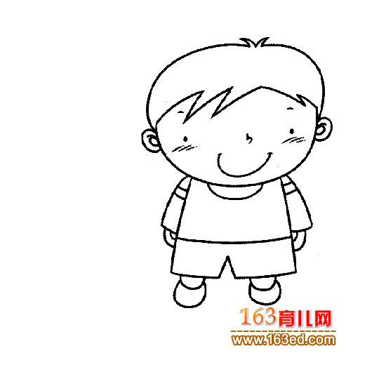 可爱的小男孩简笔画1