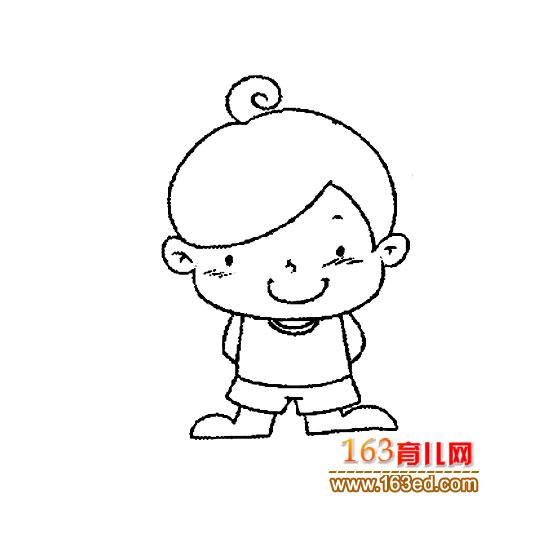 可爱的小男孩简笔画3