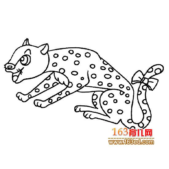 动物简笔画 绑蝴蝶结的豹子