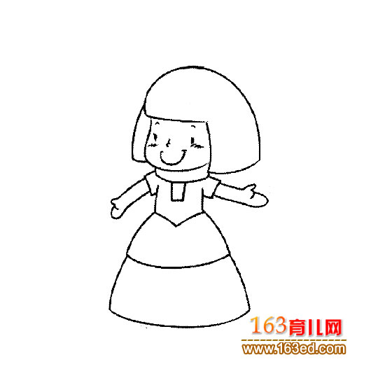 人物简笔画:乖巧的小女孩