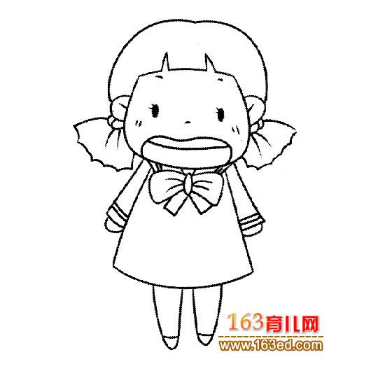 生气的小女孩(人物简笔画)