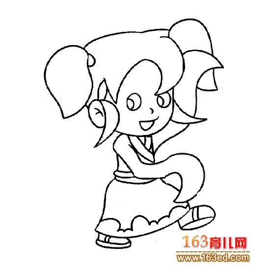 跳舞的小女孩 人物简笔画