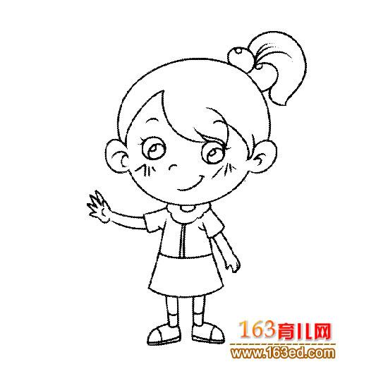 扎马尾的小女孩(人物简笔画)