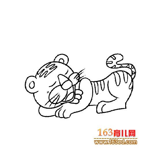 动物简笔画:睡觉的老虎
