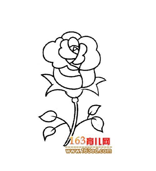 简笔画:漂亮的玫瑰花1