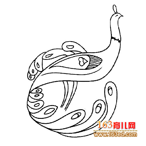 简笔画/简笔画:漂亮的孔雀4
