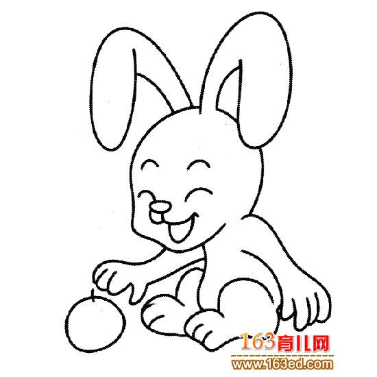 动物简笔画 拿水果的兔子