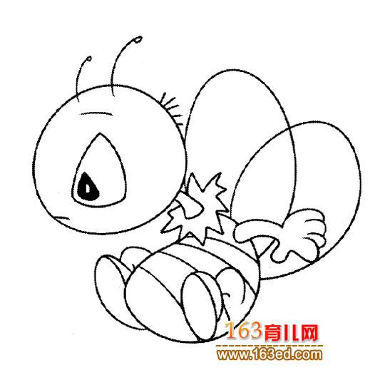 玩耍的小蜜蜂 简笔画 5