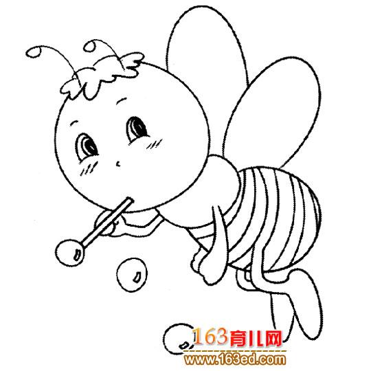 简笔画:吹泡泡的蜜蜂