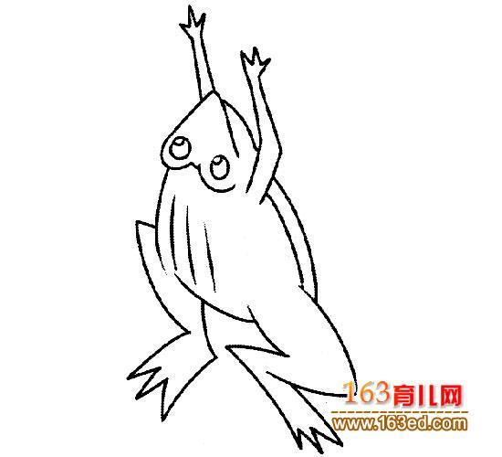 蹦蹦跳跳的青蛙简笔画2