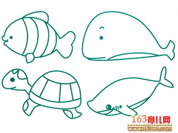 手绘卡通动物简笔画