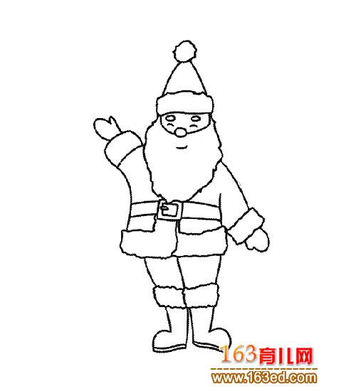简笔画 长胡子圣诞老人