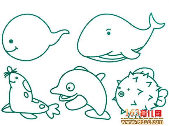 简笔画/简笔画:水生动物1