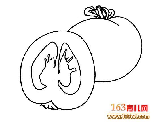 简笔画 西红柿/蔬菜简笔画:西红柿
