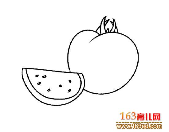 简笔画 西红柿/蔬菜简笔画:西红柿2