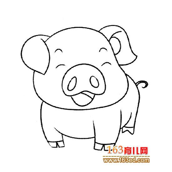 简笔画之坐着的小猪