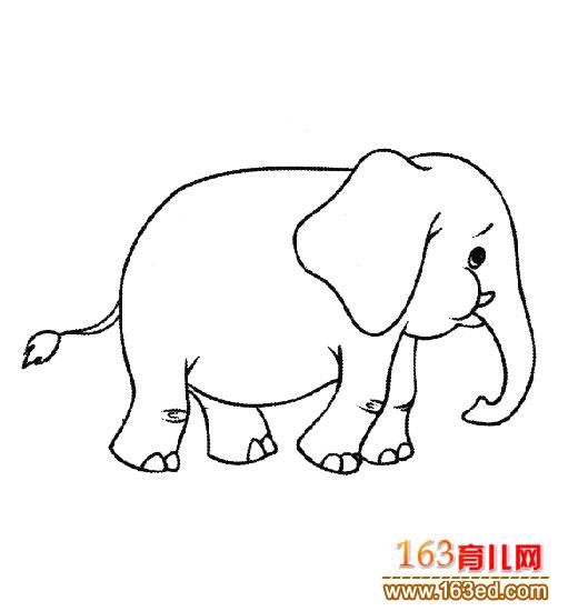 简笔画:奔跑的大象-简笔画网
