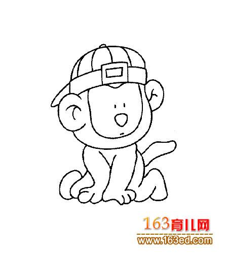 动物简笔画:戴帽子的小猴子—简笔画网
