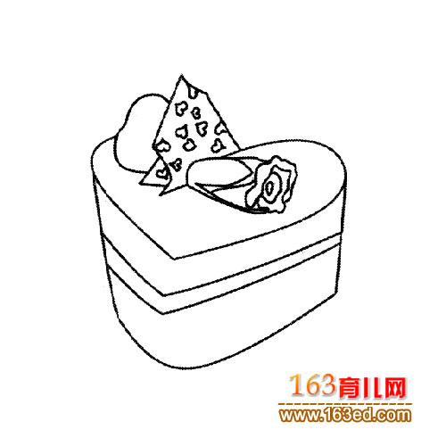 简笔画:心形蛋糕