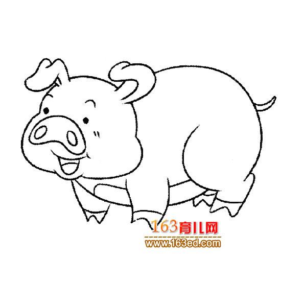 粉红小猪简笔画_粉红小猪壁纸