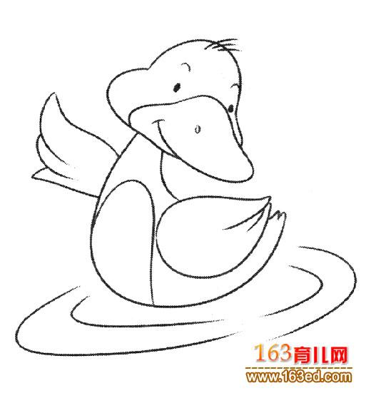 嬉戏的鸭子(简笔画)