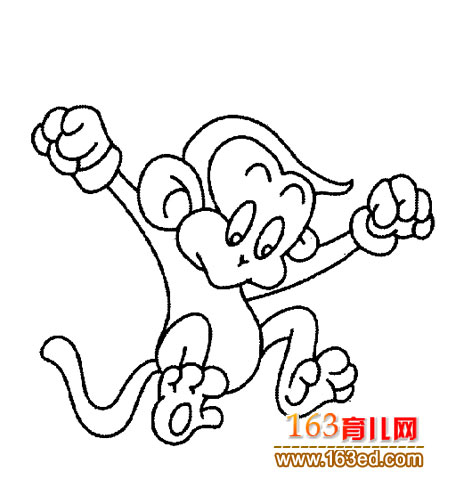 活蹦乱跳的小猴子 简笔画