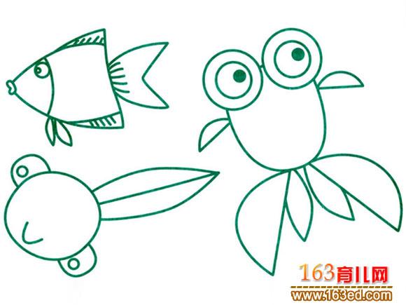 圆形简笔画图片大全动物_圆形创意图案简笔画