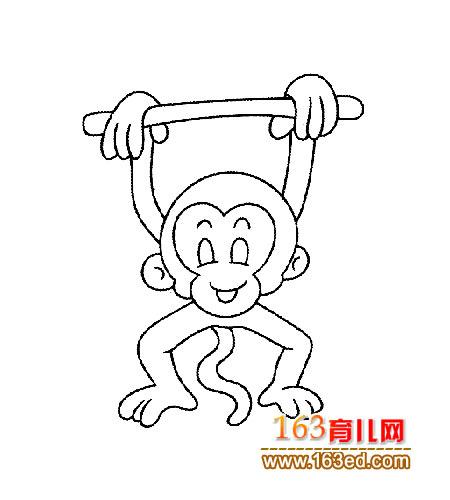 动物简笔画 玩耍的猴子