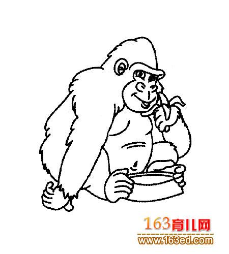 坐着的大猩猩 儿童简笔画