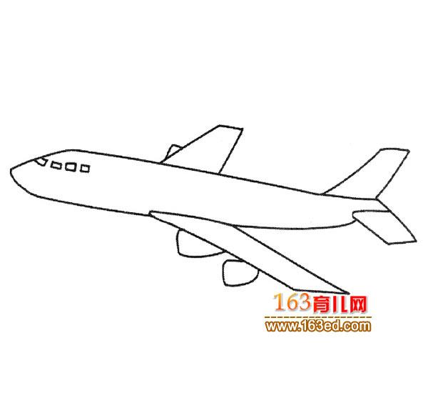 笔画飞机简民航:技巧客机4台钓抬杆幼儿图片
