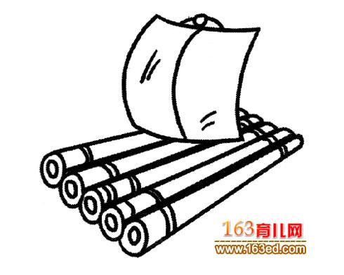 小竹筏 幼儿交通工具简笔画