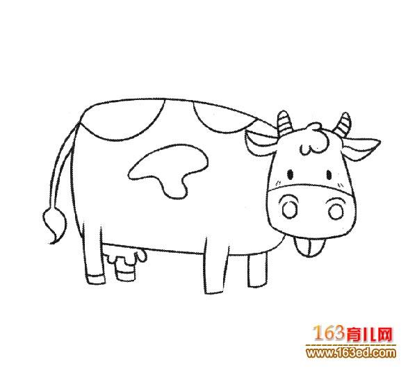 一只奶牛的简笔画_幼儿简笔画图片