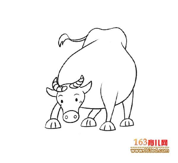一头胖胖的黄牛简笔画_幼儿简笔画图片