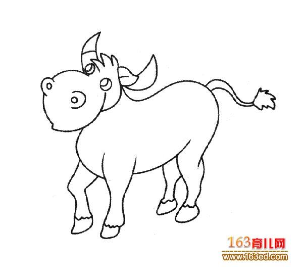 一头调皮的小牛犊简笔画 幼儿简笔画图片