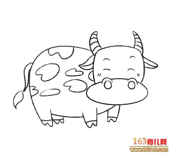 育儿网 简笔画 动物 >> 正文  一头卡通奶牛简笔画_幼儿简笔画图片