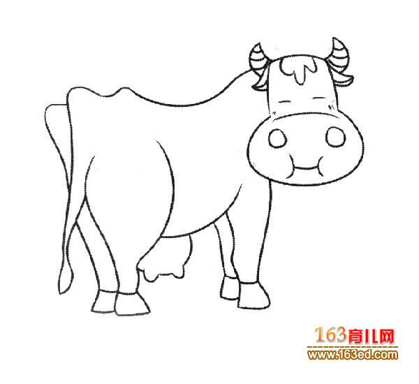 一头卡通奶牛简笔画_幼儿简笔画图片