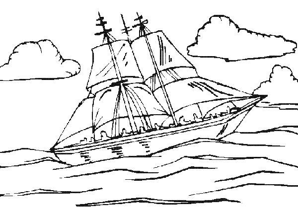 大海里的船简笔画(交通工具)