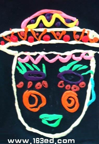 幼儿橡皮泥作品:脸谱1—儿童手工制作网