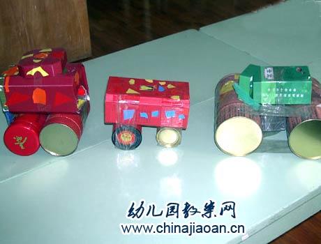幼儿手工废旧利用:废罐子小汽车—儿童手工制作网