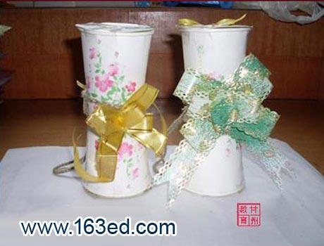 幼儿纸杯手工制作:纸杯花瓶—儿童手工制作网
