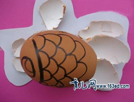 幼儿蛋壳手工制作:金鱼